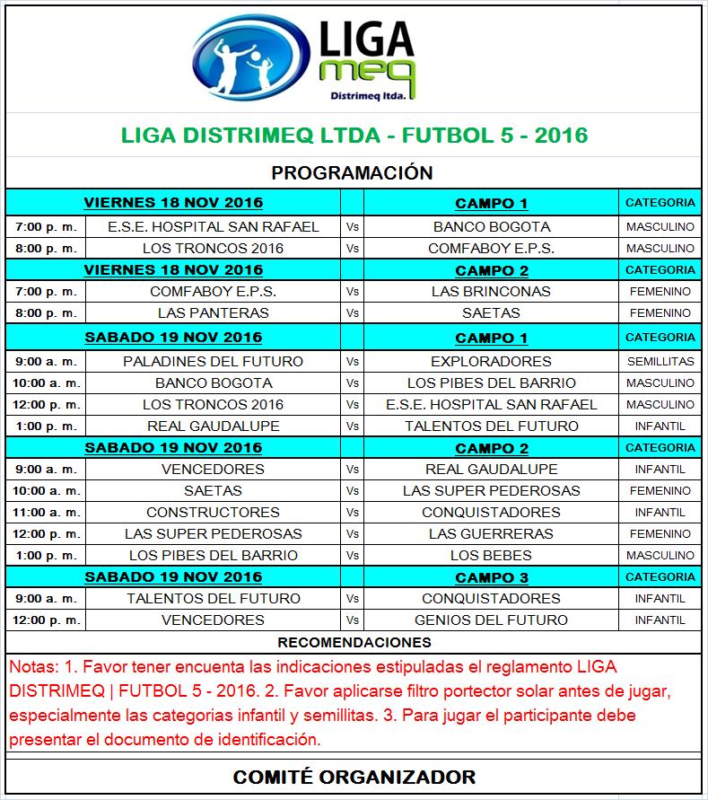 PROGRAMACION VIERNES 18 Y SABADO 19 NOV - 2016 - FNAL